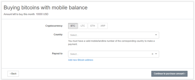 Buying BTC with mobile balance