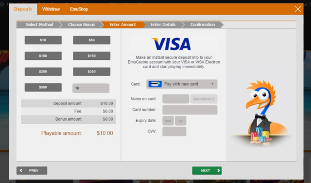 Emu casino credit card deposit