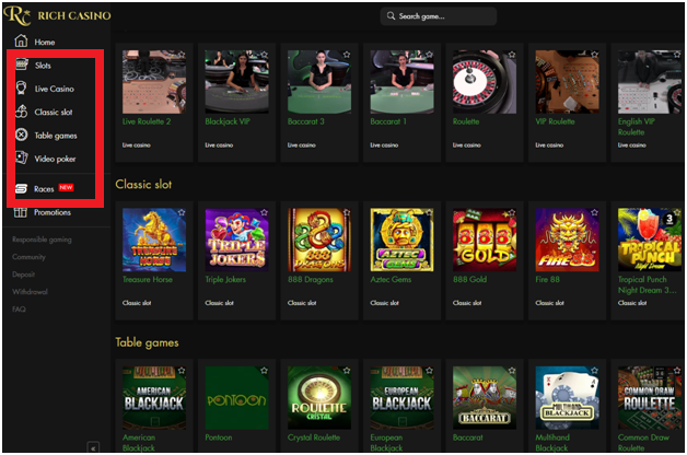 Rich Casino Choosing games
