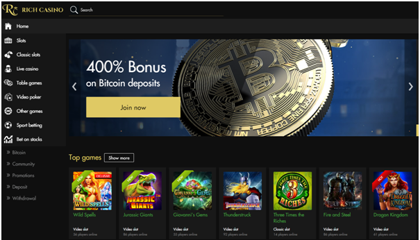 Rich Casino deposit with Bitcoin