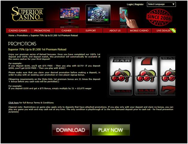 Superior Casino premium reload bonus